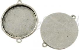 02406 Tussenstuk Cabochon setting Antiek zilver (Nickel vrij) 36mmx28mmx3mm; binnenzijde 25mm 1 stuks