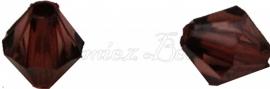 01258 Acryl kraal facet bicone Bruin 6mmx6mm 20gram