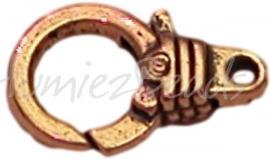 02120 Lobsterslot  knoop Antiek goud 18mmx11mm 3 stuks