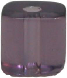 01230 Glaskraal vierkant Lila 4mm 1 streng (±30cm)