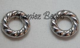 02850 Metallook geribbelde ring Antiek zilver 16mm 11 stuks