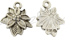 00582 Bedel kerstster Antiek zilver (Nikkel vrij) 18,5mmx15mmx4mm; gat 2mm