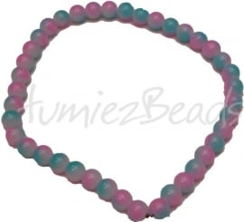 03381 Glaskraal streng (±30cm) double color Blauw/roze 10mm 1 streng