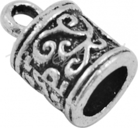 00541 Eindkap Tubbisch Antiek zilver (Nikkel vrij) 13mmx8mm; gat 6mm 4 stuks