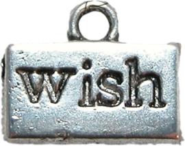 01560 Bedel Wish rechthoek Antiek zilver 10mmx12mm