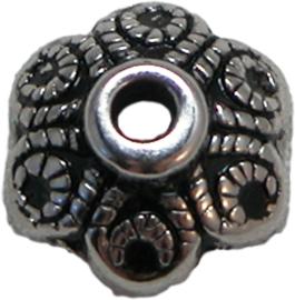 02038 Kralenkap bloem (metallook) Antiek zilver (nikkelvrij) 12mm 11 stuks