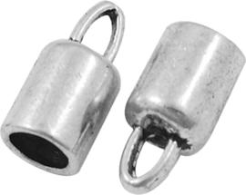 03951 Eindkap  Antiek zilver (Nikkelvrij) 14mmx6,5mm; gat 4mm 4 stuks