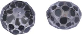 00615 Glaskraal Rondel handgeschilderd Transparant grijs 14mmx18mm; gat 1mm 1 stuks