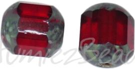02242 Tsjechische glaskraal lantaarn Rood-grijs 8mm ±25 stuks