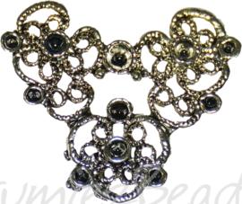 04204 Tussenstuk bloemetjes Antiek zilver (Nikkelvrij) 25mmx26mmx1mm  1 stuks