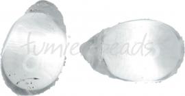 00375 Tsjechische glaskraal Transparant 23mmx14mm-6mm; gat 1mm van links naar rechts 3 stuks