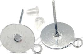 04047 Oorbel plaksteen met oogje Stainless steel Metaalkleurig 12mmx0,8mm; setting 10mm; gat 1mm 3 paar