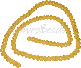 03982 Glaskraal imitatie swarovski faceted Abacus streng ±40cm Gold Champagne 4mmx6mm  1 streng