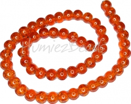 01946 Glaskraal crackle streng ±40cm Oranje 8mm 1 streng