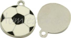 03231 Bedel voetbal Metaalkleurig/enamel zwart-wit 22mmx18mm
