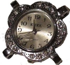 01679 Horloge bling Metaalkleurig/Chrystal  1 stuks