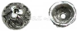 01672 Kralenkap bloemetje Antiek zilver (nikkelvrij) 3mmx8mm 15 stuks