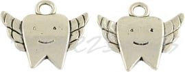 00493  Bedel tand  Antiek zilver (Nikkel vrij)  18mmx20mmx2mm