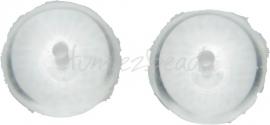 00409 Tsjechische glaskraal Transparant 7mmx11mm; gat 1mm 7 stuks