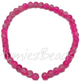 03400 Glaskraal streng (±30cm) crackle Roze 10mm 1 streng