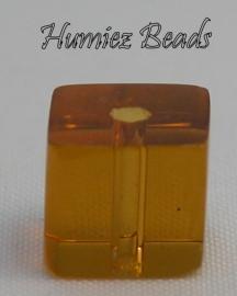 02515 Glaskraal vierkant Geel-Bruin 8mm 1 streng (±30cm)