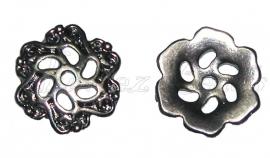 00733 Kralenkap opengewerkt zwart (Nickel vrij) 13mmx2mm;gat 1,5mm 11 stuks