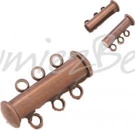 01586 Magneetschuifslot 3-rings Koperkleurig (Nikkelvrij) 20mmx10mm 1 stuks