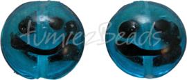 00029 Lampwork kraal handmade Lentil smiley Licht blauw 20mmx9mm 4 stuks