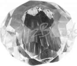 00494 Glaskraal imitatie swarovski Transparant AB color 14mmx8mm; gat 5mm 3 stuks