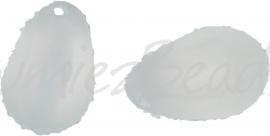 00603 Tsjechische glaskraal Melktransparant 9mmx6mmx2,5mm; gat 1mm van links naar rechts 15 stuks