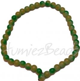 03390 Glaskraal streng (±30cm) double color Groen/geel 10mm 1 streng