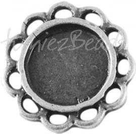 01074 Tussenstuk Cabochon setting Antiek zilver (Nickel vrij) 13mmx2mm; binnenzijde 8mm 1 stuks