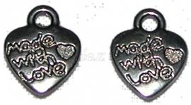 01530 Bedel hart made with love Zwart (Nickel vrij) 12mmx10mm 11 stuks