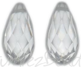 04359 Glaskraal druppel Chrystal 10mmx20mm; gat 1mm 2 stuks