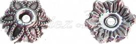 00233 Kralenkap Lotus Antiek zilver (Nikkel vrij) 15 stuks