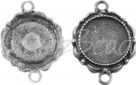 02321 Tussenstuk Cabochon setting Antiek zilver (Nickel vrij) 26mmx19mmx2mm; binnenzijde 14mm 1 stuks