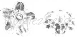 02006 Acryl kralenkap bloem Transparant 10mmx5mm; gat 1mm 30 stuks