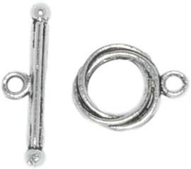 00333 Kapittelslot Design Antiek zilver 13mm 3 stuks