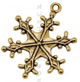 02528 Bedel sneeuwvlok Antiek goud (Nikkelvrij) 29mmx22mm
