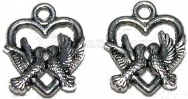 01024 Bedel hart 2 duiven Antiek zilver (Nikkelvrij) 16mmx19mm