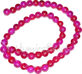 02443 Glaskraal crackle streng ±40cm Hard roze 8mm 1 streng