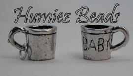 02569 Bedel beker baby Antiek zilver (nikkelvrij) 9mmx14mm