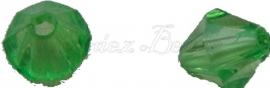 01221 Acryl kraal facet bicone Groen 6mmx6mm 20gram