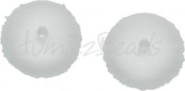 00761 Tsjechische glaskraal Melktransparant 6mmx11mm; gat 1mm 7 stuks