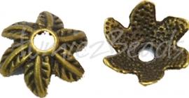 03772 Kralenkap blad Antiek brons (Nikkelvrij) 5mmx11mm; gat 2mm 12 stuks