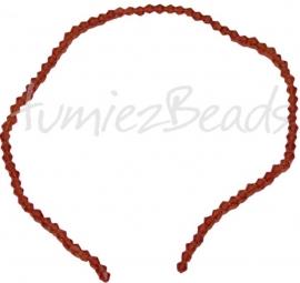 03207 Glaskraal Imitatie swarovski bicone bruin 4mm 1 streng (±30cm)