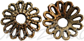 02572 Kralenkapje kraag Antiek goud (nickel vrij) 11mm 11 stuks