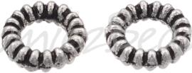 01067 Gesloten ring donut Antiek zilver (Nickel vrij) 4mm; gat 2mm ±35 stuks