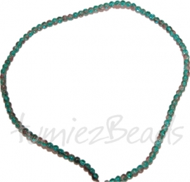 03555 Glasperle strang (±40cm) crackle Blau-braun 4mm 1 strang