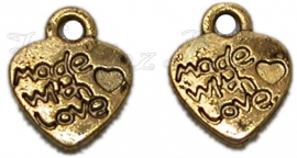 00316 Hart made with love Antiek goud (Nikkelvrij) 12mmx9mm